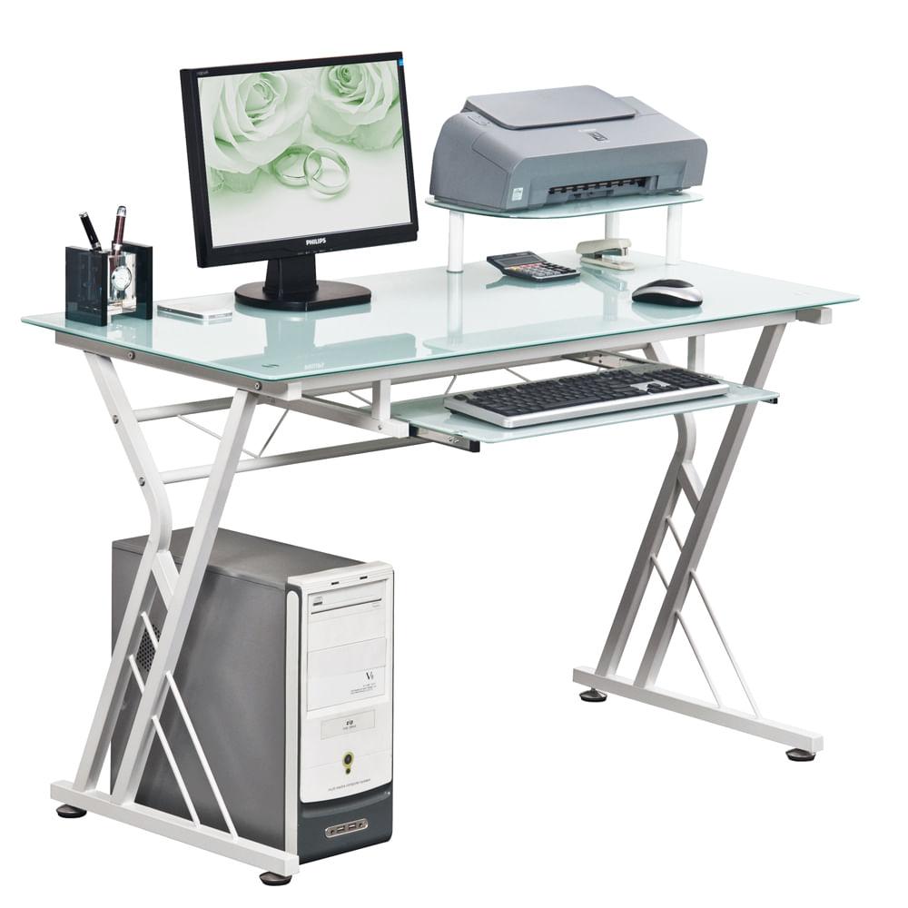 Escritorio de trabajo minton blanco cristal templado - Escritorio mesa de trabajo ...