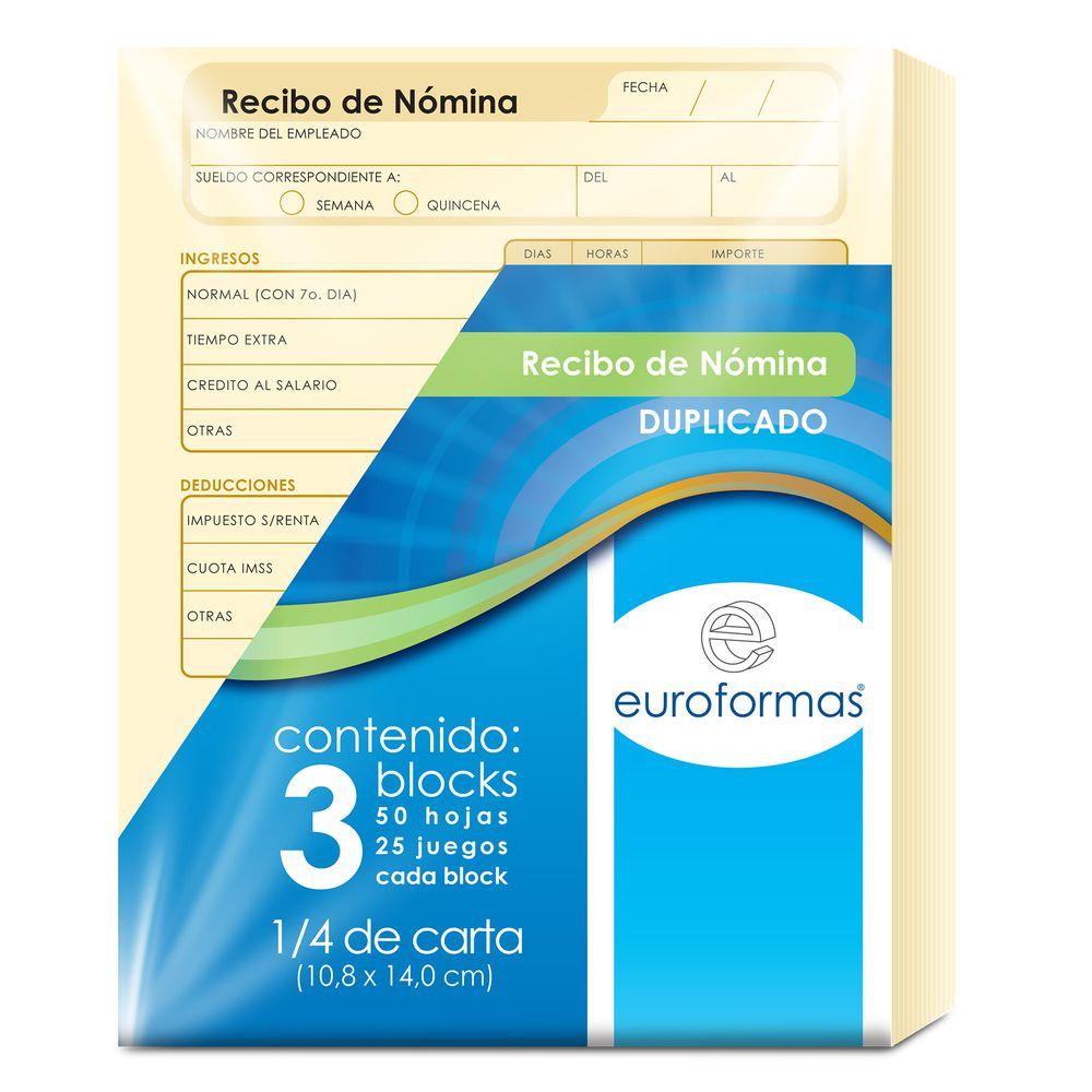 Recibo de nomina duplicado 3 blocks de 50 hojas c u for Hoja nomina