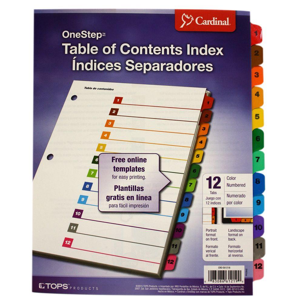 SEPARADOR 12 DIVISIONES PESTANAS MULTICOLOR ONESTEP - OfficeMax