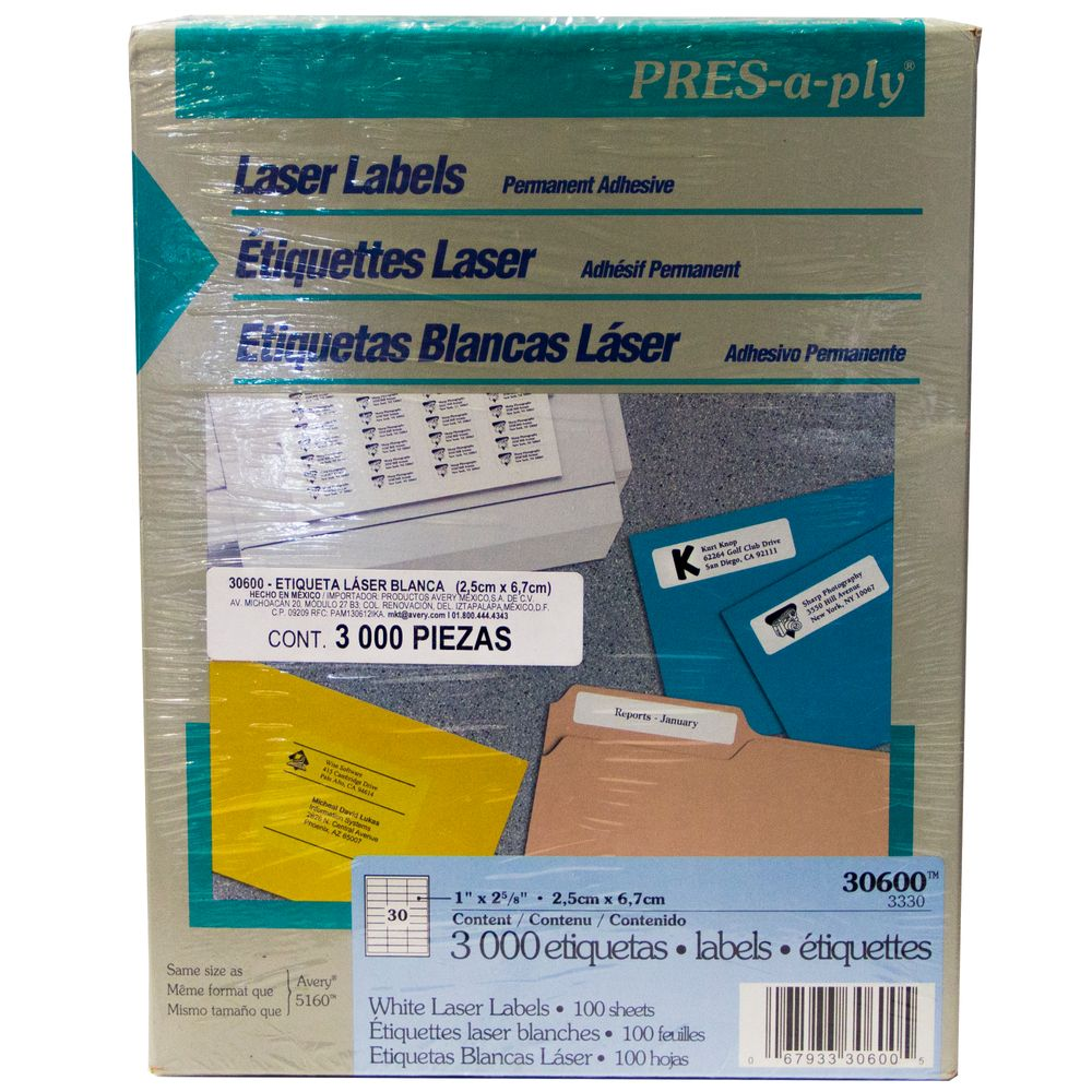 ETIQUETA LASER BLANCA PRESAPLY2,54 X 6,67 CM 3,000 PIEZAS - OfficeMax