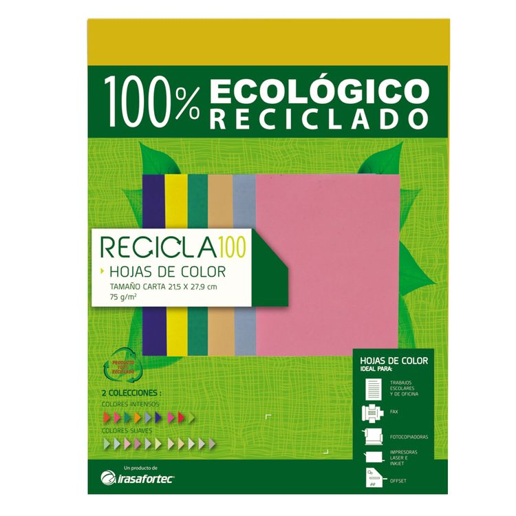 Papel Recicla 100 Color Amarillo Paquete Con 100h Officemax