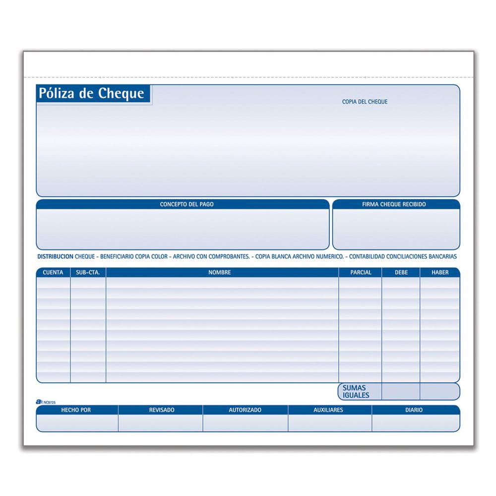 Poliza Cheque Intercarbon 1 2carta 25jgos Officemax