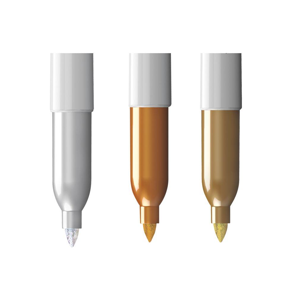 Marcador Permanente Sharpie 3 Piezas Dorado Y Plata Officemax # Papeleria Dabo Muebles