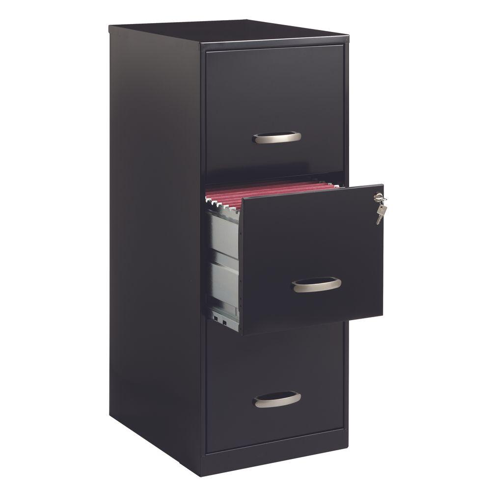 Archivero 3 gavetas carta met lico negro officemax for Archiveros para oficina
