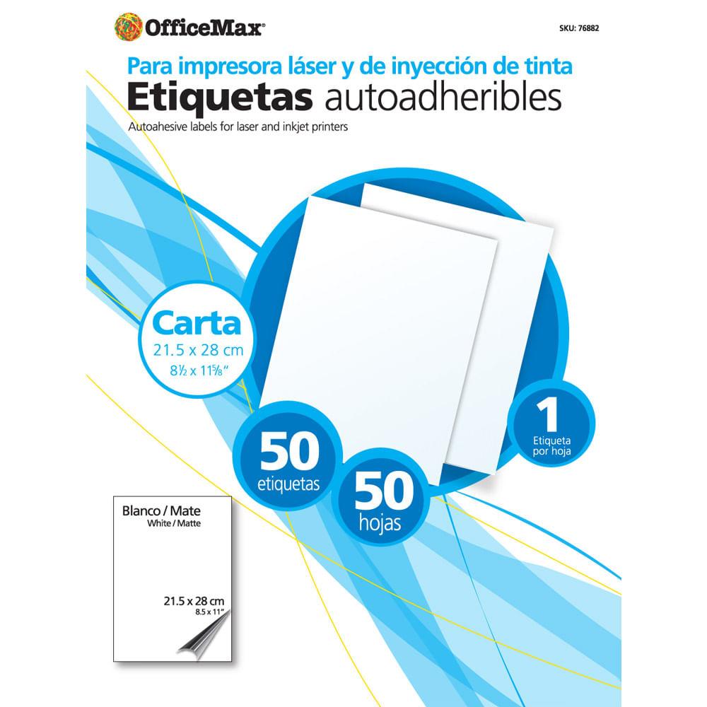 Etiqueta Officemax Blanca Ink/Laser Carta Paq 50 Pzas - OfficeMax