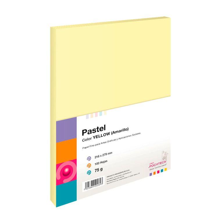Papel Bond Pastel Amarillo Tamano Carta 100hjs 75grs Officemax