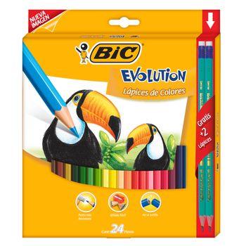 Lapices-De-Colores-Bic-Conte-Evolution-Resina-24-Piezas
