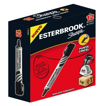 Marcador-Permanente-Esterbrook-Punta-Cincel-Negro-12-Pzas