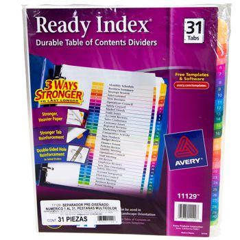 Separador-31-Pestanas-Colores-Ready-Index-Avery