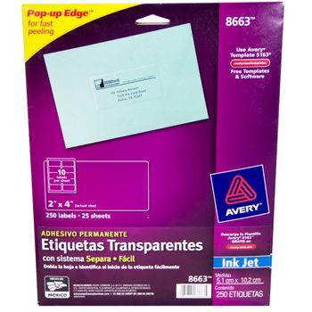 ETIQUETA-INKJET-TRANSPARENTE-2X4--250P