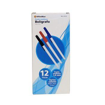 Boligrafo-Ballpoint-Colores-Punto-Mediano-1.0MM-12-Piezas