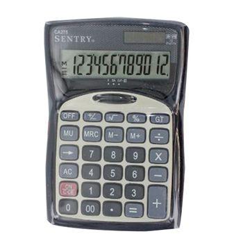 Calculadora-Sentry-Escritorio-12D-con-Reloj-Negra