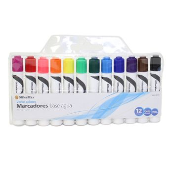 Marcadores-OfficeMax-Punta-Cincel-de-Tinta-Base-Agua-12PZ