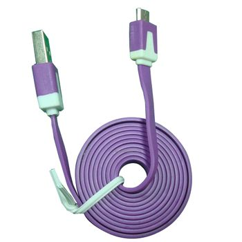 Cable-Micro-USB-3.2Ft-Flat-Morado