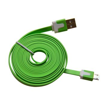 Cable-Micro-USB-3.2Ft-Flat-Verde